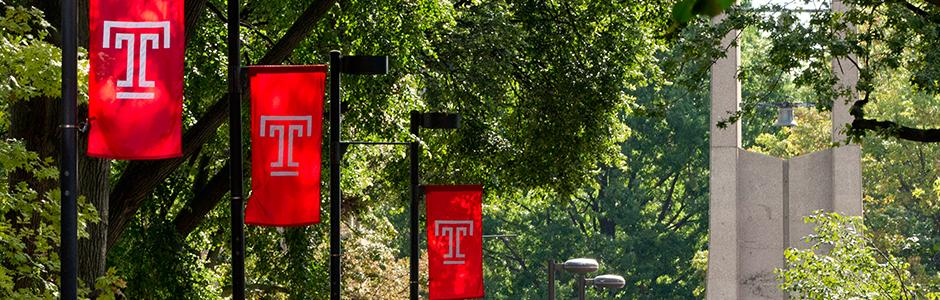 Temple University flags on Polett Walk